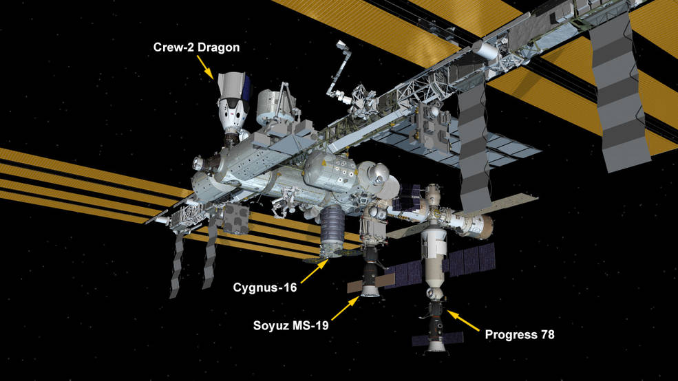 Oct. 21, 2021: International Space Station Configuration. Four spaceships are parked at the space station including Northrop Grumman's Cygnus space freighter; the SpaceX Crew Dragon vehicle; and Russia's Soyuz MS-19 crew ship and ISS Progress 78 resupply ship.