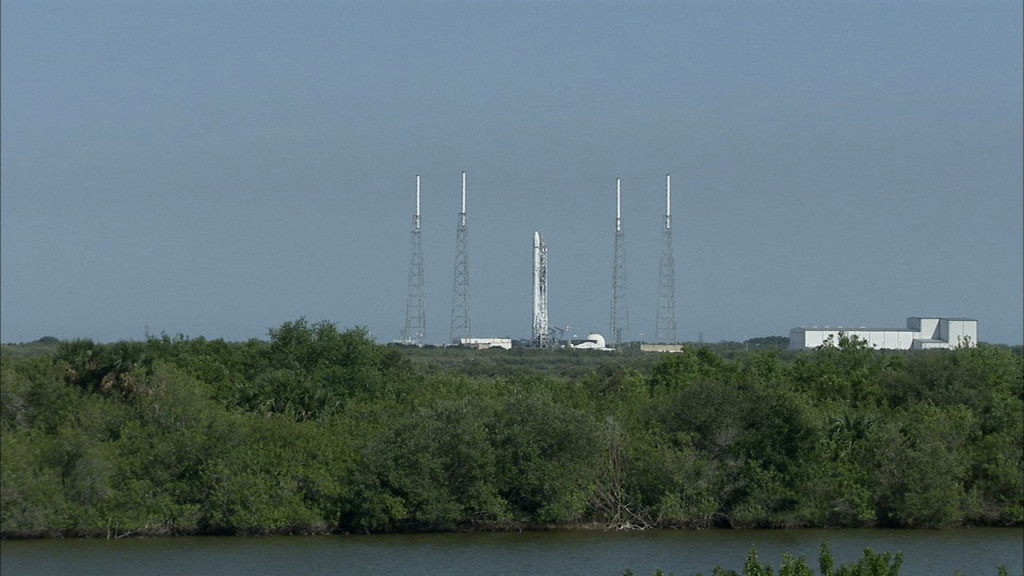 SpaceX Falcon 9 rocket on pad