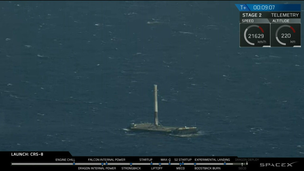 SpaceX Falcon 9 first stage stands on deck of the drone ship Of Course I Still Love You following successful landing