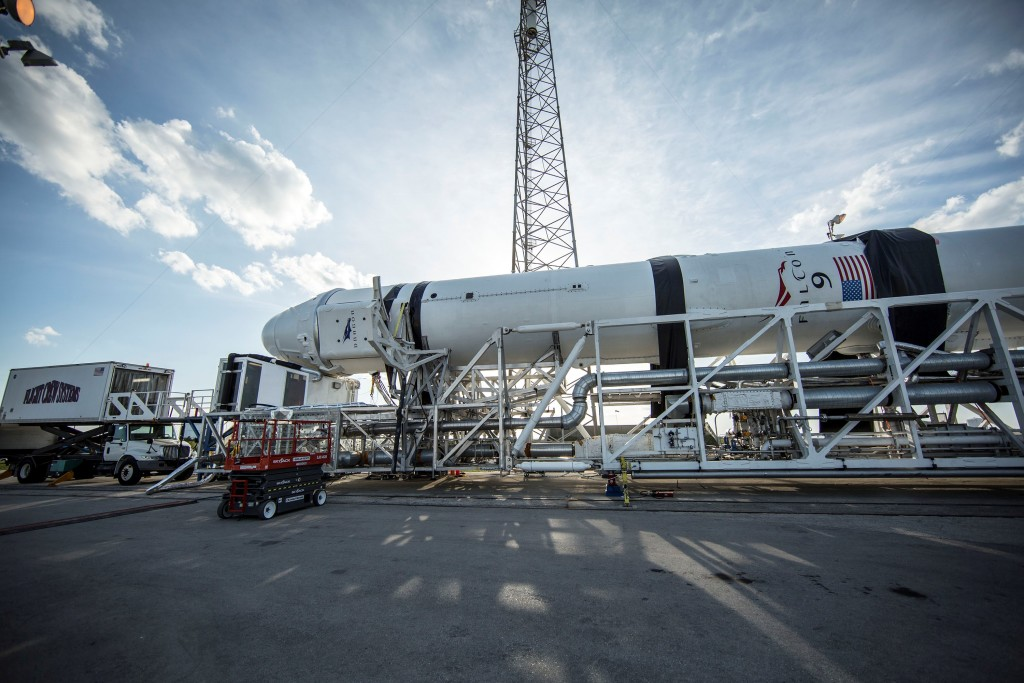 Late cargo load operations at Space Launch Complex 40 on Thursday.