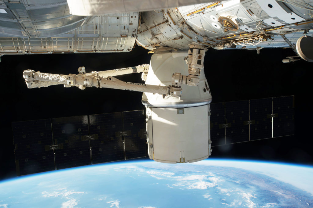 Dragon spacecraft docked at the International Space Station