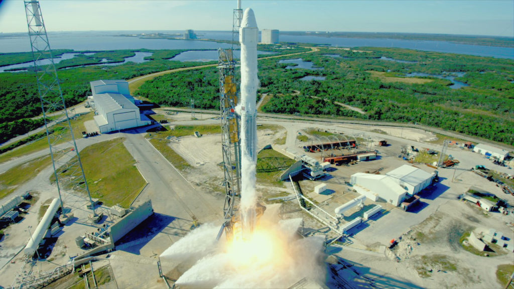 The SpaceX Falcon 9 rocket and Dragon spacecraft launch from Pad 40 at 10:36 a.m. EST.