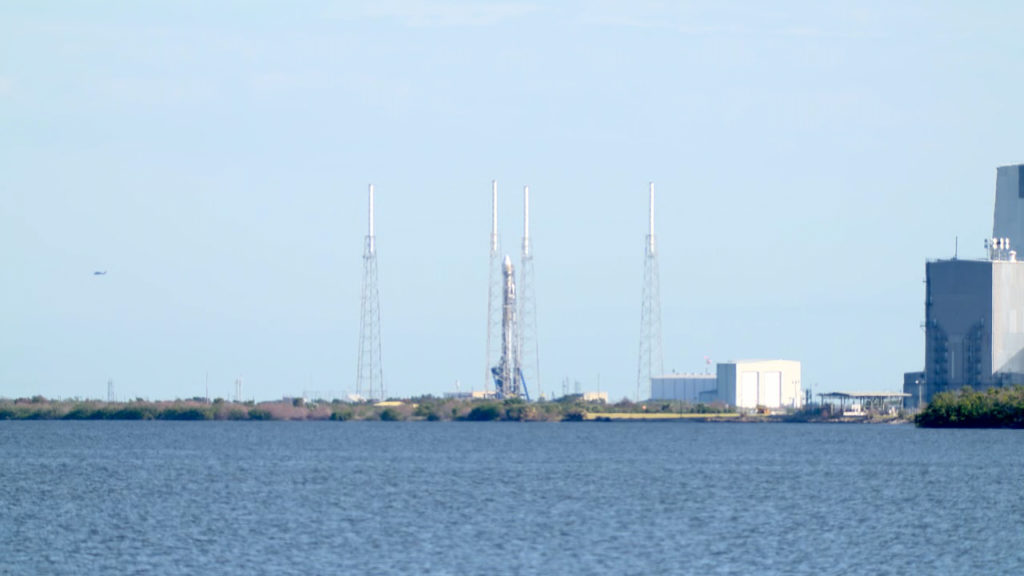 SpaceX Falcon 9 and Dragon spacecraft on pad 40 at CCAFS.