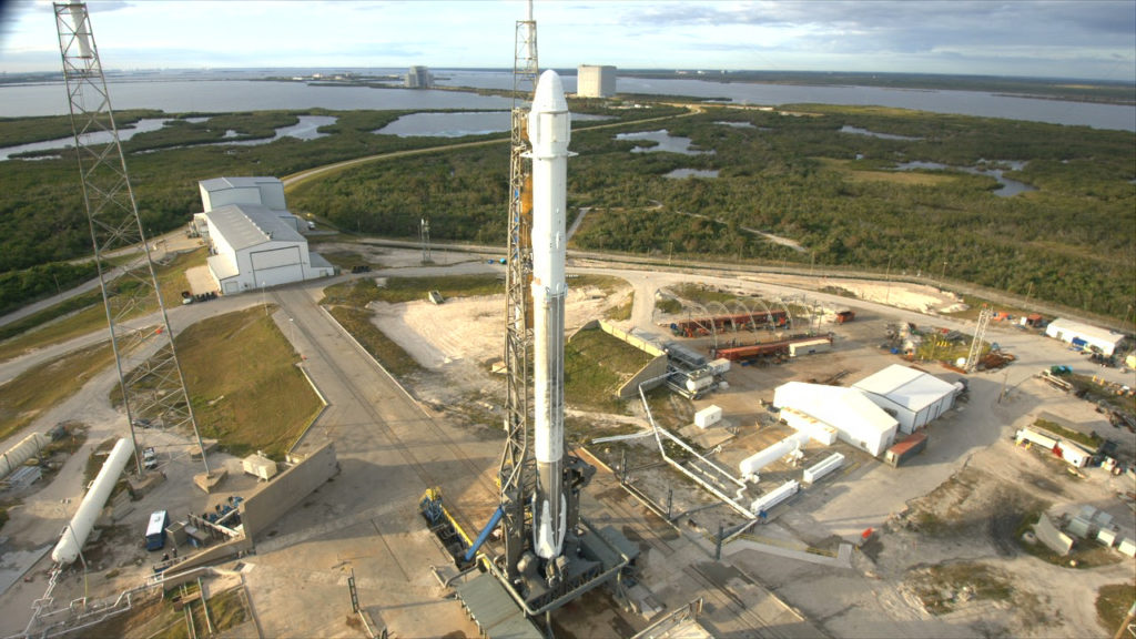 SpaceX Falcon 9 and Dragon spacecraft are on Space Launch Complex 40 at CCAFS in Florida.