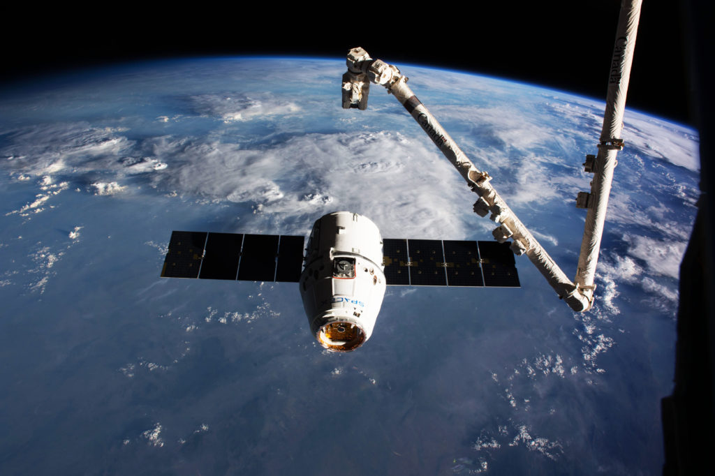 SpaceX's Dragon cargo craft is seen during final approach to the International Space Station on Feb. 23, 2017. The commercial spacecraft carried about 5,500 pounds of experiments and supplies to the orbiting laboratory. Space station crew members used the station's robotic arm, Canadarm2, to capture Dragon. Photo credit: NASA
