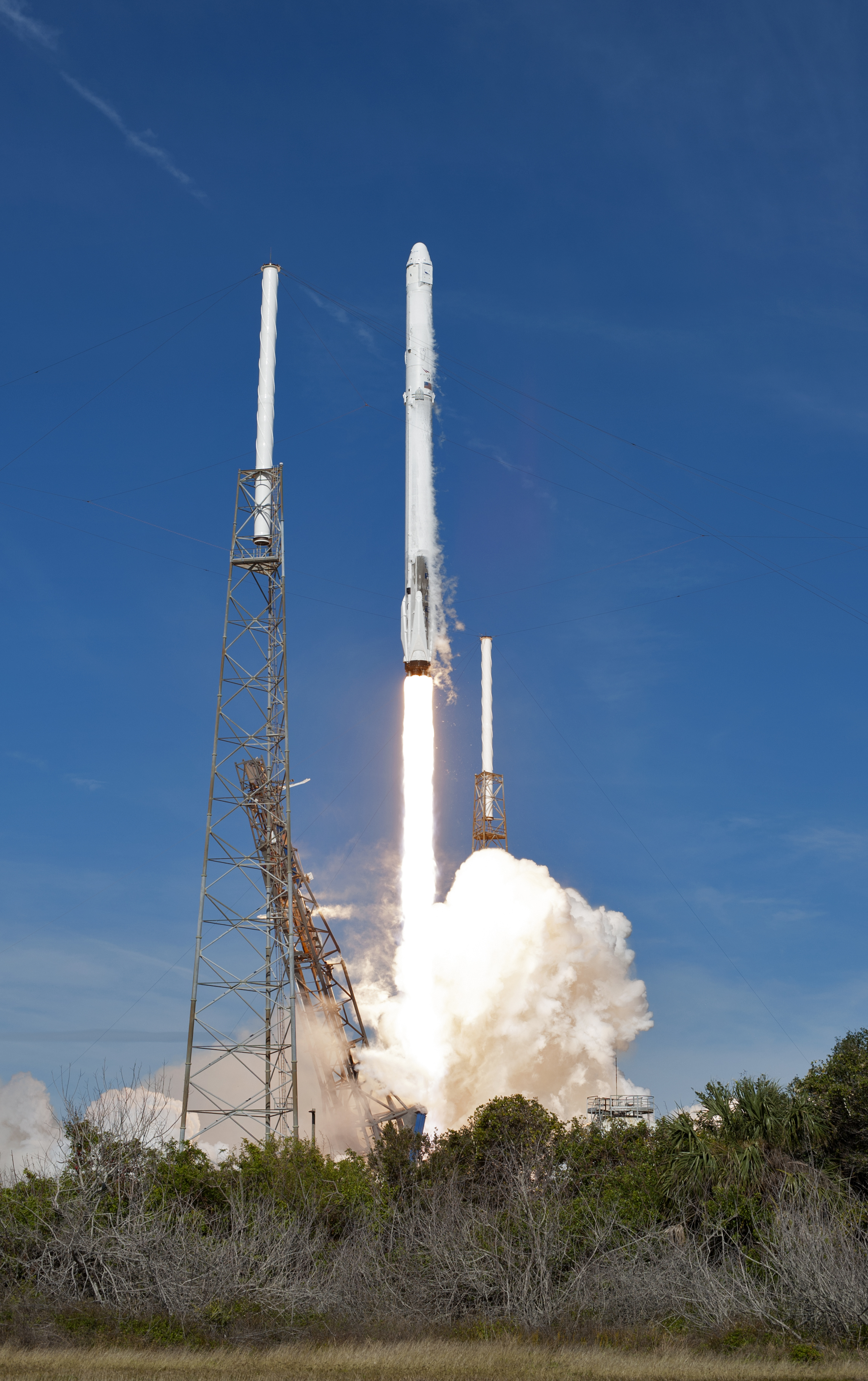 A SpaceX Falcon 9 rocket soars upward after lifting off from Space Launch Complex 40 at Cape Canaveral Air Force Station in Florida on April 2, 2018, at 4:30 p.m. EDT, carrying the SpaceX Dragon resupply spacecraft. On its 14th commercial resupply services mission for NASA, Dragon delivered supplies, equipment and new science experiments for technology research to the space station.