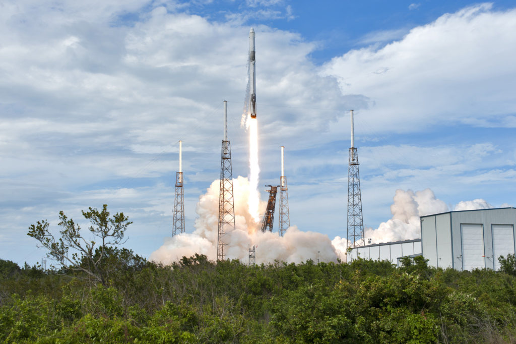 A SpaceX Falcon 9 rocket soars upward after lifting off from Space Launch Complex 40 at Cape Canaveral Air Force Station in Florida at 4:30 p.m. EDT on April 2, 2018