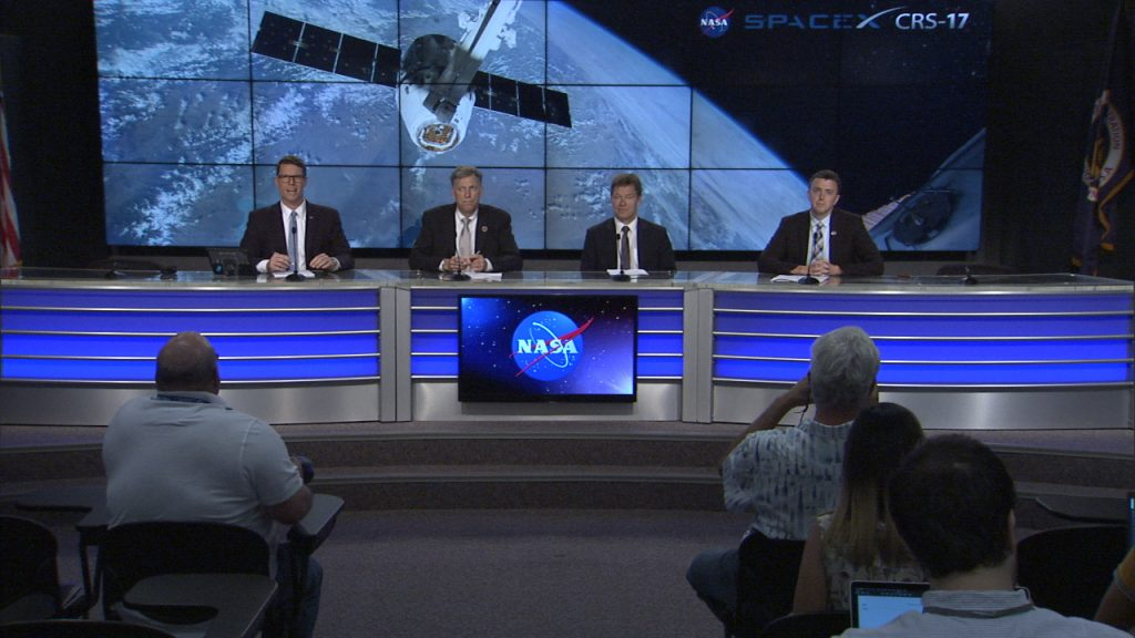 A prelaunch news conference for SpaceX's CRS-17 launch, targeted for Friday, May 3, at 3:11 a.m. EDT, was held at Kennedy Space Center in Florida on Thursday, May 2. Participants included, from left to right: Derrol Nail, NASA Communications; Kenny Todd, manager, International Space Station Operations and Integration, JSC; Hans Koenigsmann, VP, Build and Flight Reliability, SpaceX, and Will Ulrich, launch weather officer, U.S. Air Force 45th Space Wing.