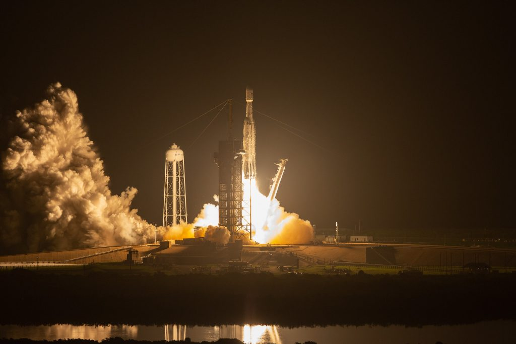 A SpaceX Falcon Heavy rocket lifts off from Launch Complex 39A at 2:30 a.m. EDT on June 25, 2019, at NASA's Kennedy Space Center in Florida.