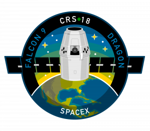 The mission patch for SpaceX's 18th Commercial Resupply Services mission to the International Space Station, scheduled to lift off from Space Launch Complex 40 at Cape Canaveral Air Force Station in Florida on July 24, 2019, at 6:24 p.m. EDT