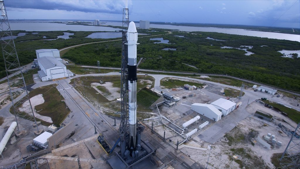 SpaceX's Falcon 9 rocket stands ready for lift off at Cape Canaveral Air Force Station's Space Launch Complex 40 in Florida for the company's 18th Commercial Resupply Services (CRS-18) mission to the International Space Station. Launch is scheduled for 6:24 p.m. EDT.