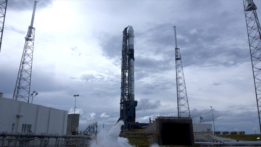 SpaceX's Falcon 9 rocket stands ready for lift off at Cape Canaveral Air Force Station's Space Launch Complex 40 in Florida for the company's 18th Commercial Resupply Services (CRS-18) mission to the International Space Station.