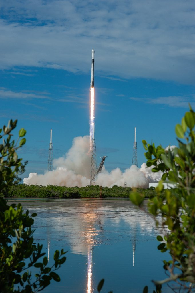 A SpaceX Falcon 9 rocket lifts off from Space Launch Complex 40 at Cape Canaveral Air Force Station in Florida at 6:01 p.m. EDT on July 25, 2019, carrying the Dragon spacecraft on the company's 18th Commercial Resupply Services (CRS-18) mission to the International Space Station.