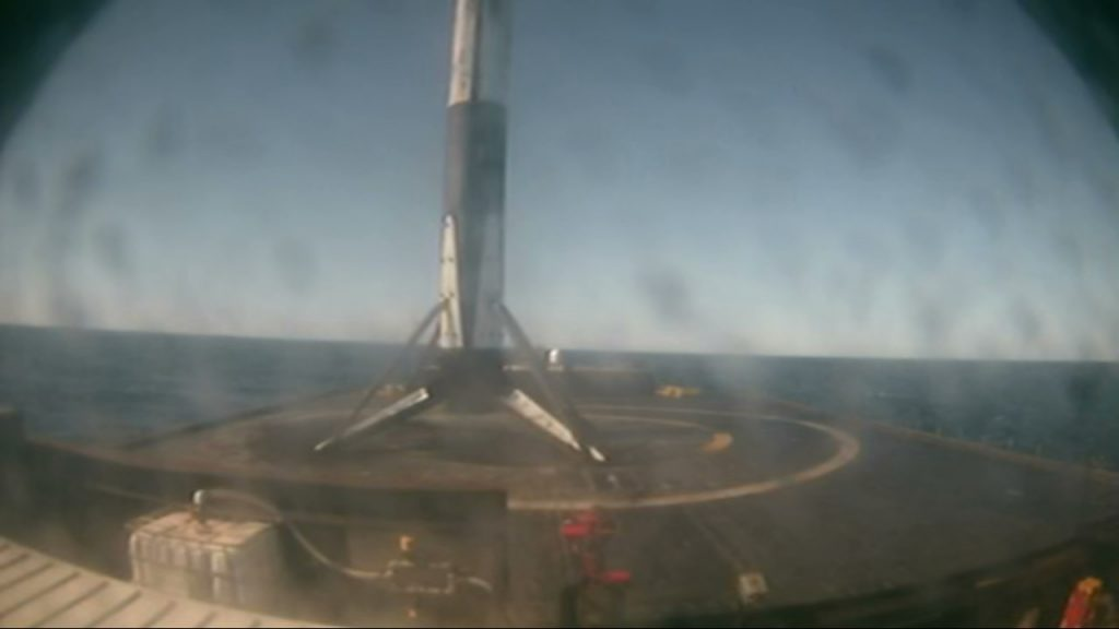 "The first stage of a SpaceX Falcon 9 rocket lands on the drone ship ""Of Course I Still Love You"" in the Atlantic Ocean following launch of the company's 19th Commercial Resupply Services Mission to the International Space Station on Dec. 5, 2019."