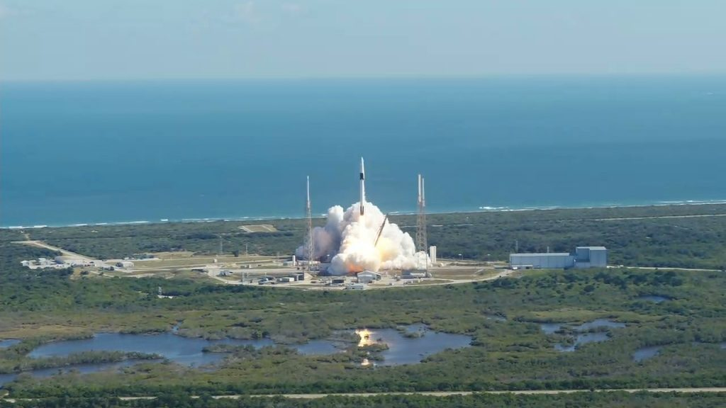 The SpaceX Falcon 9 rocket with the Dragon cargo module lifts off Space Launch Complex 40 on Cape Canaveral Air Force Station in Florida on Dec. 5, 2019, at 12:29 p.m. EST. It was SpaceX's 19th Commercial Resupply Services (CRS-19) mission for NASA to the International Space Station.