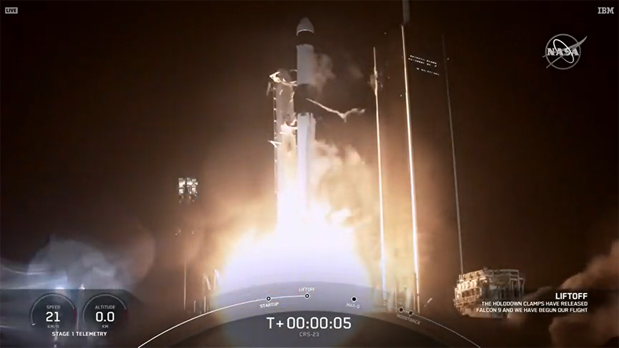 The SpaceX Falcon 9 rocket launches the Cargo Dragon spacecraft toward the International Space Station.