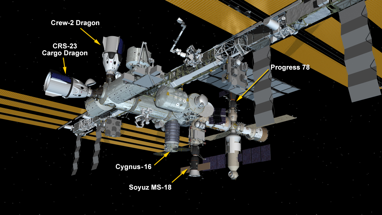 Aug. 30, 2021: International Space Station Configuration. Five spaceships are parked at the space station including Northrop Grumman's Cygnus space freighter; the SpaceX Crew and Cargo Dragon vehicles; and Russia's Soyuz MS-18 crew ship and ISS Progress 78 resupply ship.