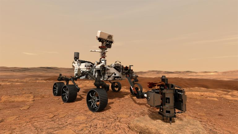 The Mars Perseverance Rover on Mars, drilling into a rock.