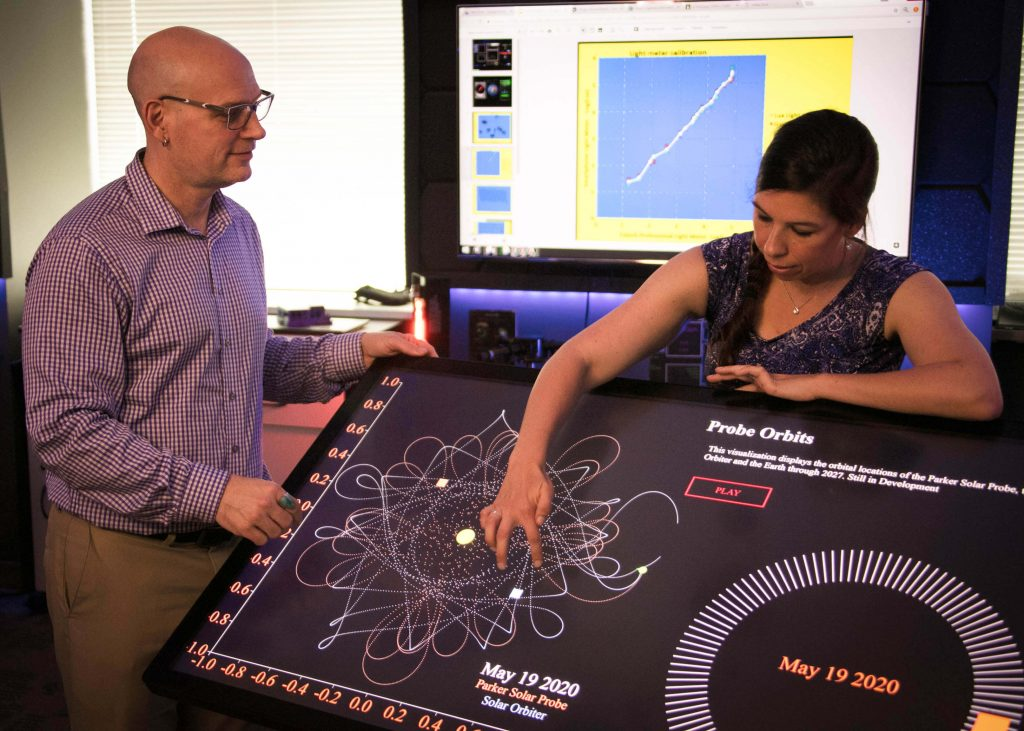 A man and woman look a large, interactive screen showing the orbits of Parker Solar Probe and Solar Orbiter