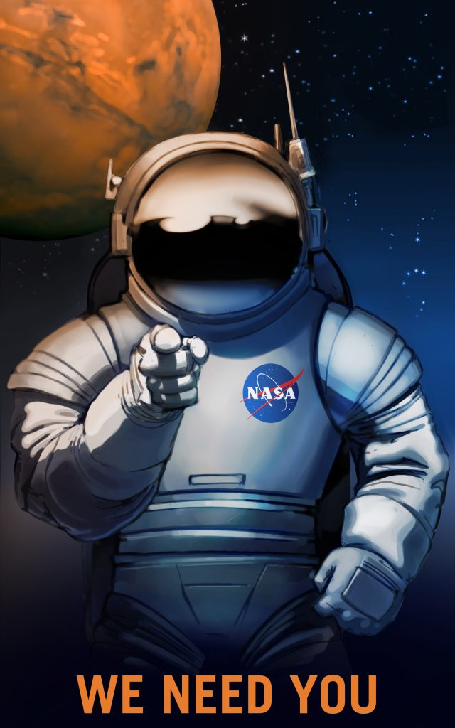 "An astronaut points at the viewer, with ""We Need You"" written below them."