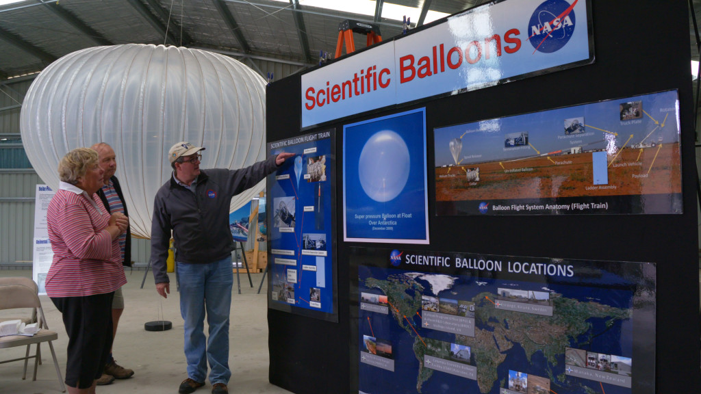 Local residents peruse NASA balloon exhibit