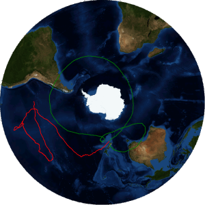 The groundtrack of NASA's Super Pressure Balloon is pictured here. The green track represents the first mid-latitude circumnavigation and the red represents the current track. The balloon is flying over the Pacific Ocean nearing the west coast of South America.