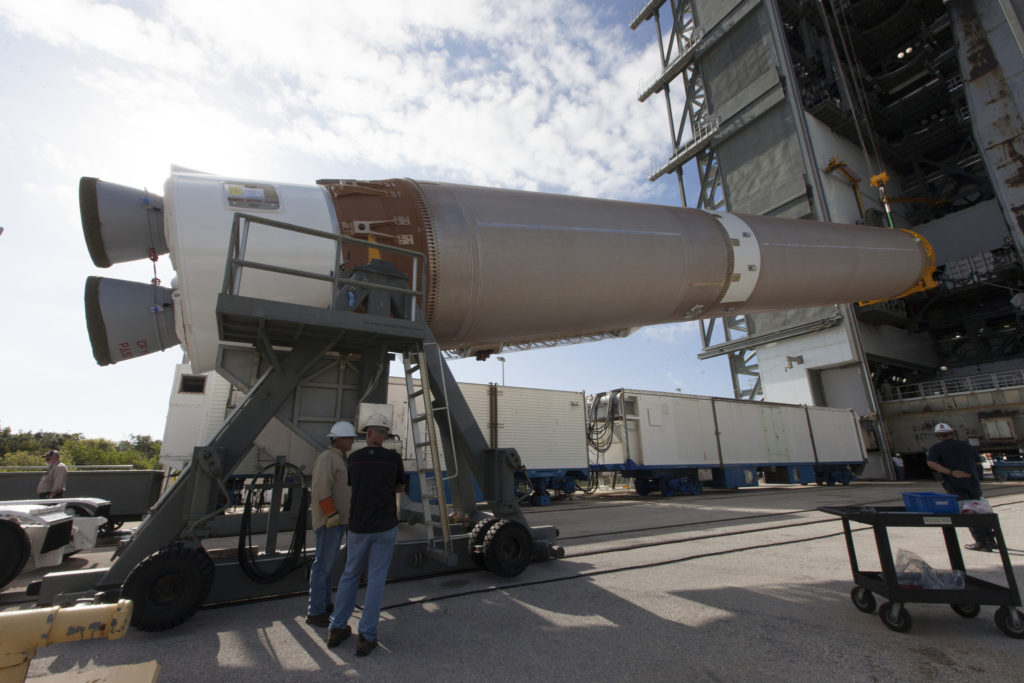A United Launch Alliance Atlas V first stage is lifted at the Vertical Integration Facility at Space Launch Complex 41 at Cape Canaveral Air Force Station in Florida.