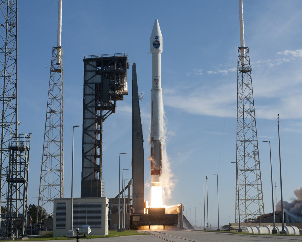 A United Launch Alliance Atlas V rocket lifts off from Space Launch Complex 41 at Cape Canaveral Air Force Station in Florida carrying NASA's Tracking and Data Relay Satellite, TDRS-M.