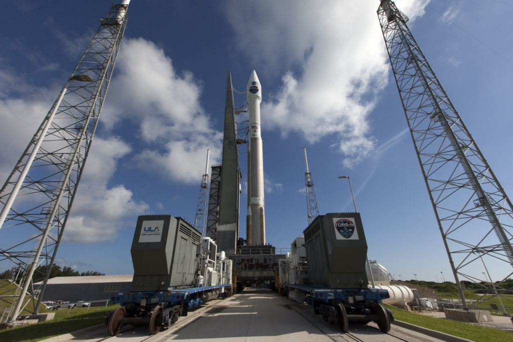 The United Launch Alliance Atlas V rocket carrying NASA's Tracking and Data Relay Satellite-M (TDRS-M) is in place on the launch pad at Cape Canaveral Air Force Station's Space Launch Complex 41.