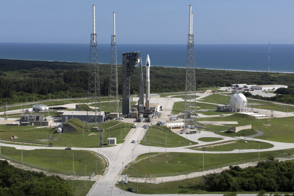 The United Launch Alliance Atlas V rocket carrying NASA's Tracking and Data Relay Satellite-M (TDRS-M) stands on the launch pad at Space Launch Complex 41 on Cape Canaveral Air Force Station after rollout Wednesday, Aug. 16.