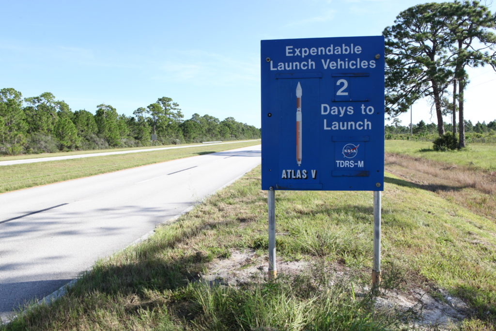 A sign at NASA's Kennedy Space Center in Florida notes that a United Launch Alliance Atlas V rocket is scheduled to launch in two days. Liftoff of the Atlas V carrying Tracking and Data Relay Satellite-M (TDRS-M) is slated for Friday morning at 8:03 a.m. EDT from Space Launch Complex 41 at Florida's Cape Canaveral Air Force Station.