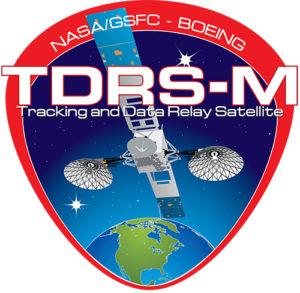 TDRS-M logo depicting TDRS satellite above Earth.