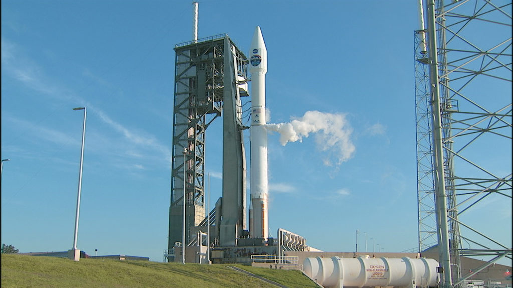 The United Launch Alliance Atlas V rocket carrying NASA's TDRS-M spacecraft awaits launch from Space Launch Complex 41 at Cape Canaveral Air Force Station. Image credit: NASA TV