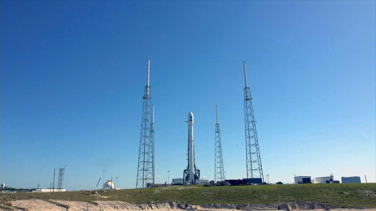 The SpaceX Falcon 9 rocket set to launch NASA's TESS spacecraft stands at Space Launch Complex 40 on Cape Canaveral Air Force Station.