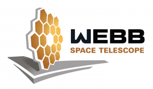 Webb Space Telescope Logo - stylized view of gold, hexagonal primary mirrors atop a silver sunshield