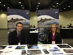Jamie and Lauren at the DEVELOP Table at AGU