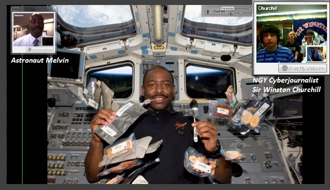Leland talks with students (inset) and in orbit on shuttle