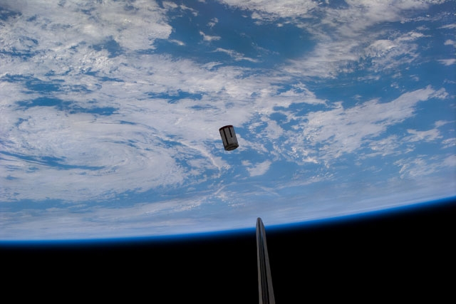Test Satellite ejected from Shuttle Payload Bay