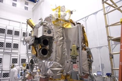 Lunar Reconnaisance Orbiter (LRO) in the clean room at NASA Goddard Space Flight Center.
