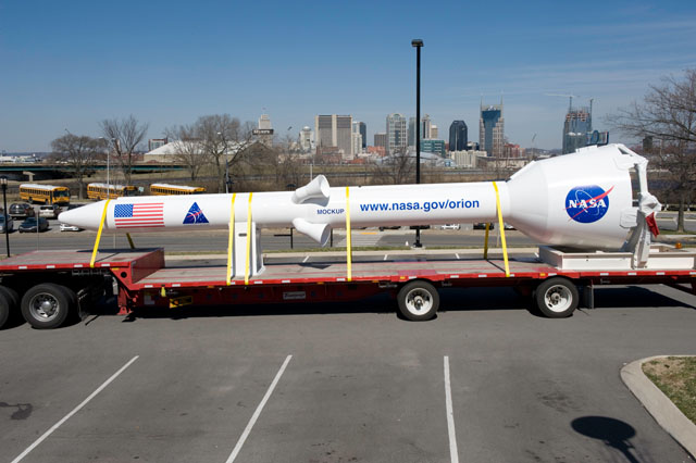 The Orion launch abort system on display in Nashville, TN.