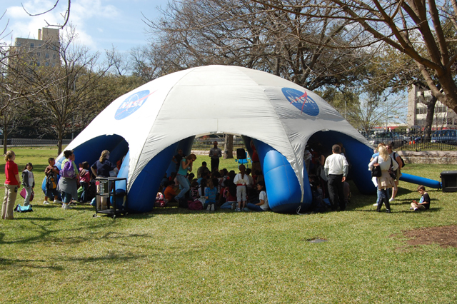 A NASA inflatable tent exhibit on display in Austin, TX.