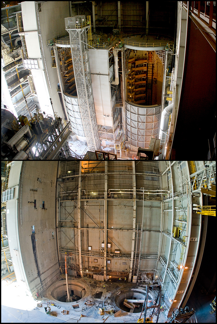 In this before and after photo, Cells B and C in Building 110 have been completely removed. The space is being prepared for the installation of the Vertical Assembly Center, which will be the world's largest friction stir weld machine.