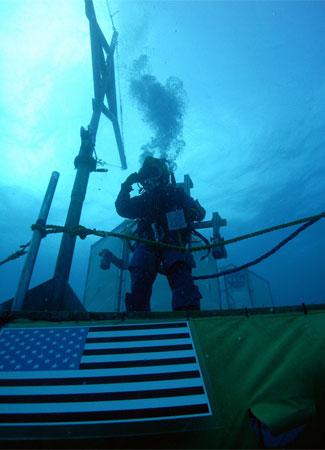 Aquanaut and flag