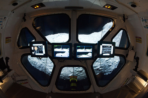 View from inside the Multi-Mission Space Exploration Vehicle (MMSEV) as the simulated asteroid mission is running. Photo credit: NASA