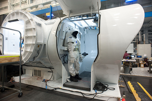 Suitports on the outside of the Multi-Mission Space Exploration Vehicle (MMSEV). Photo credit: NASA