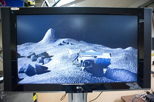Viewing screen showing the asteroid simulation. Photo credit: NASA