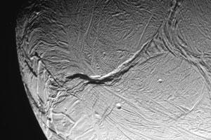 Enceladus, from Oct. 9, 2008, flyby
