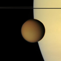 Saturn and its moon Titan