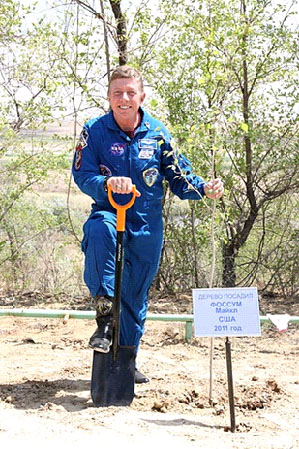 Astronaut Mike Fossum - tree planting ceremony in Baikonur, Kazakhstan