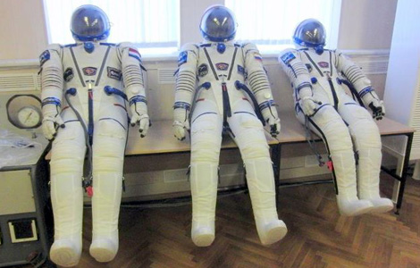 Our spacesuits being dried out and leak-checked.